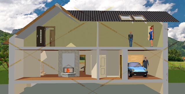Разрез здания 1 этаж: Гостинная+ кухня, коридор, гараж