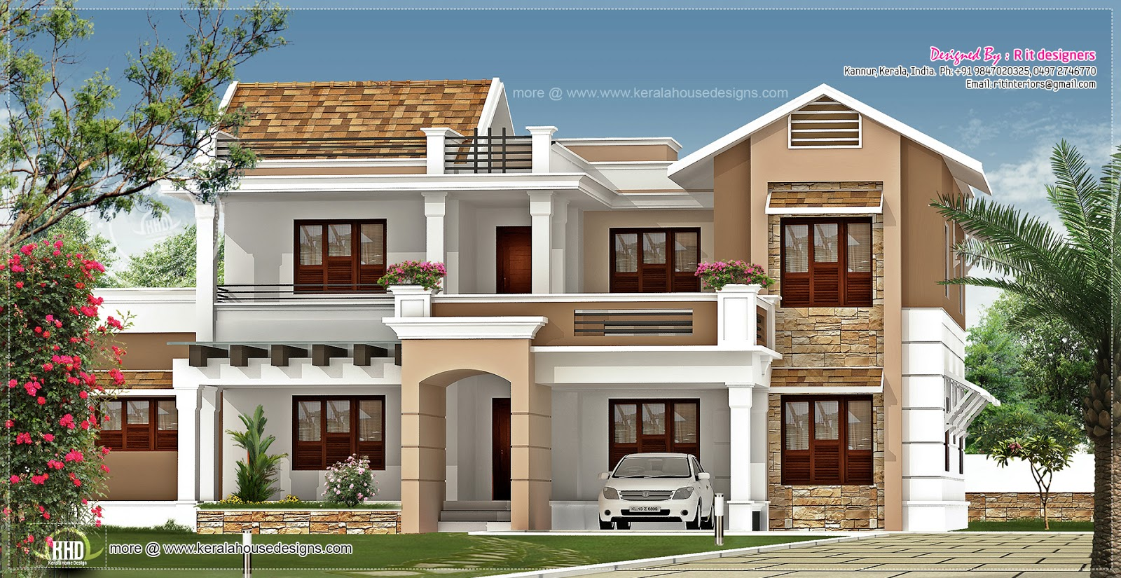 New villa exterior design in 3740 kerala home for New home designs pictures