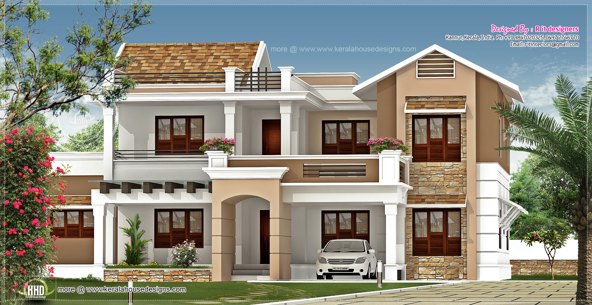 New villa exterior design in 3740 kerala home for Villa plans and designs