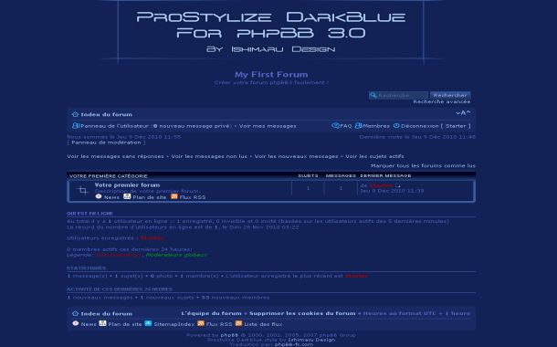 Free Grunge Dark Blue Phpbb Theme Template