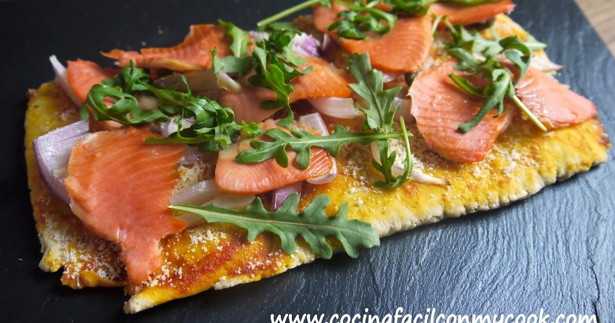 Mis recetas mycook pizza de salm n y r cula - Pizza mycook ...