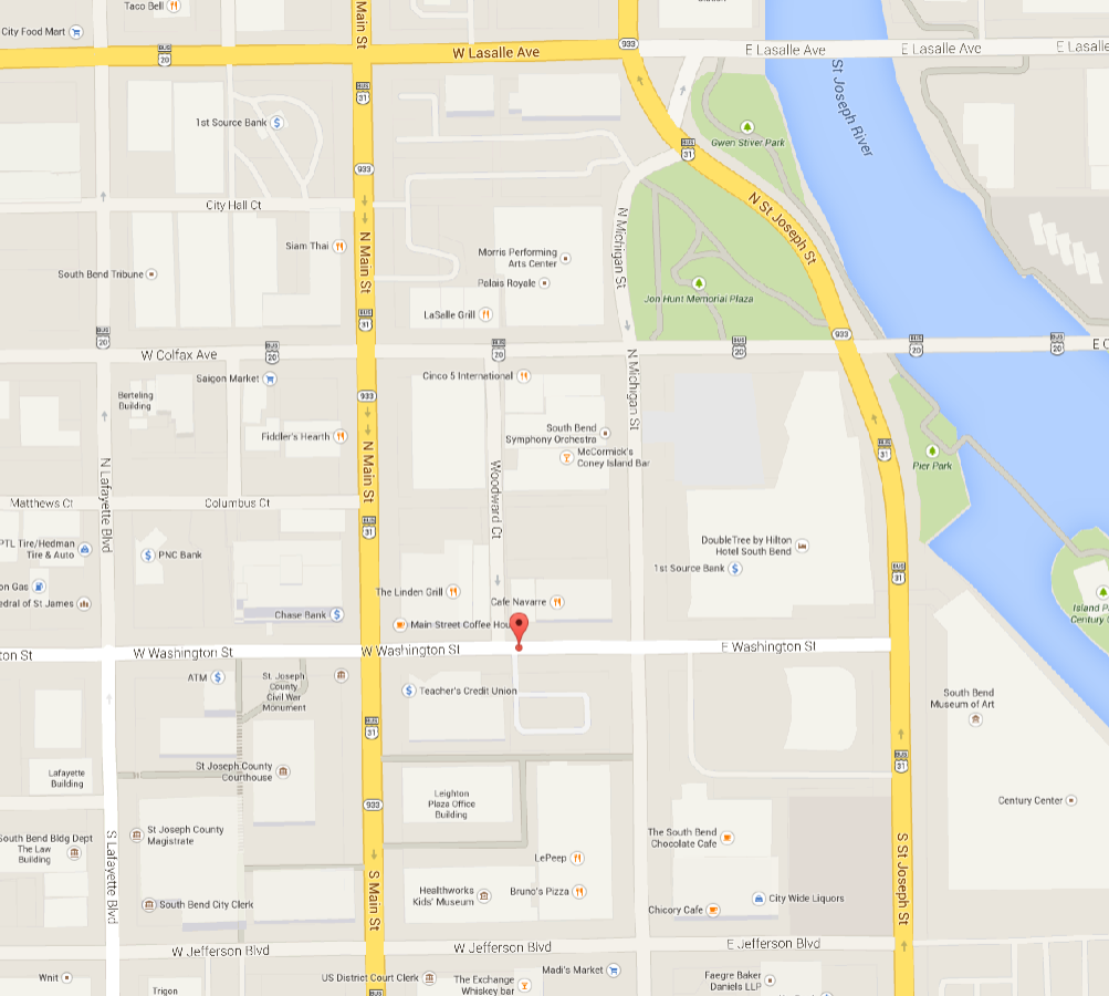google maps of 113 west washington street south bend
