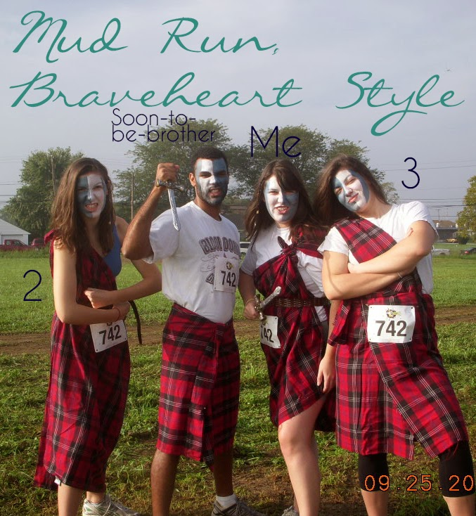 Jenn's family in Braveheart attire preparing for a mud run | Business, Life & Design