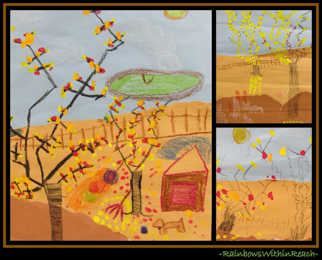 photo of: Fall Drawings of Trees Painted Leaves (Fall RoundUP from RainbowsWithinReach)