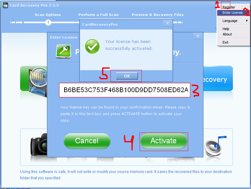 4 card recovery registration key