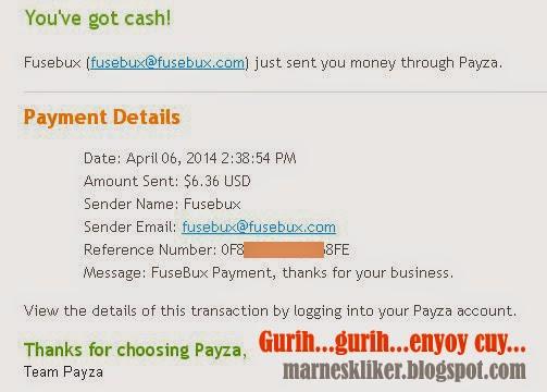 Payout Perdana dari Fusebux