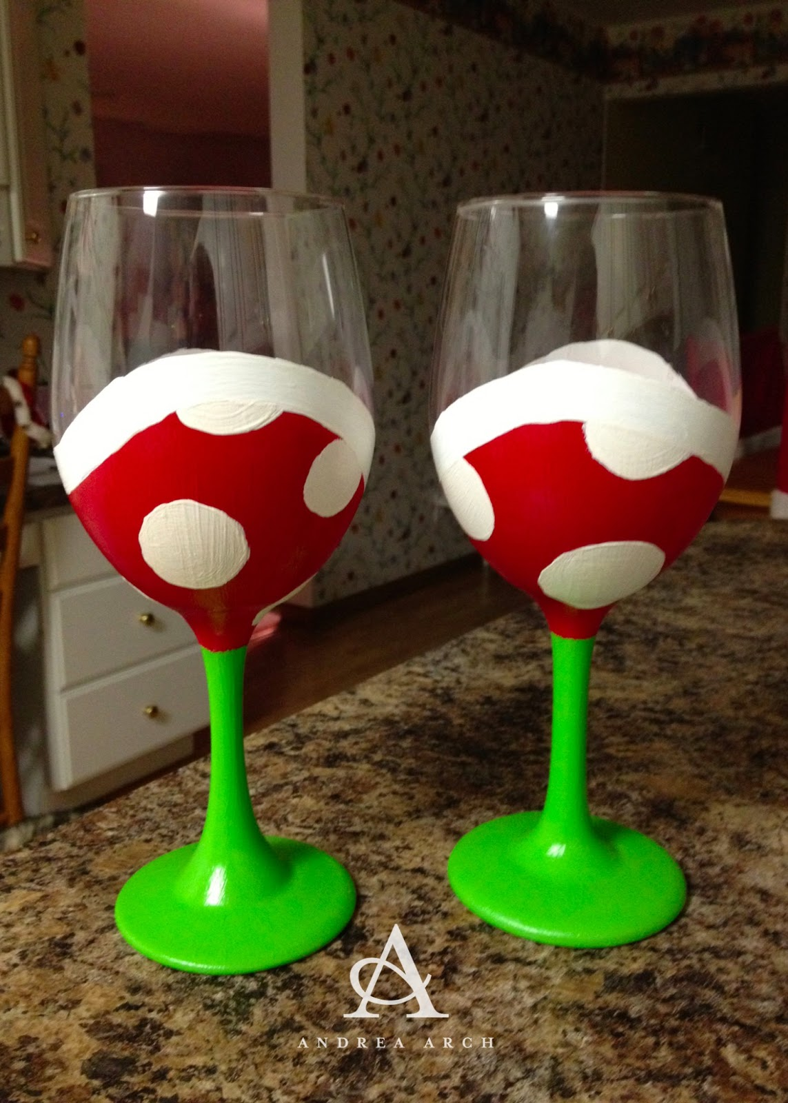 Andrea arch diy mario piranha plant wine glasses for Diy painted wine glasses