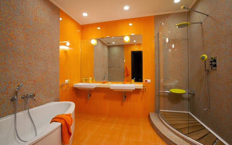 10 modern bathroom designs and ideas in orange color for Orange and grey bathroom accessories