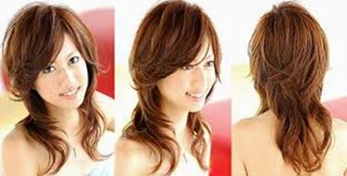 model rambut shaggy untuk wajah segitiga