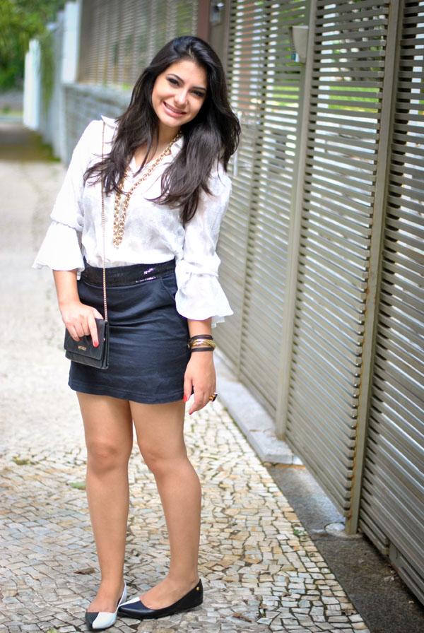 Bárbara Urias - look do dia - tendência P&B - preto e branco