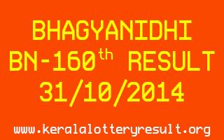 BHAGYANIDHI Lottery BN-160 Result 31-10-2014