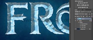 Hasil gambar sementara text effect frozen tahap 2
