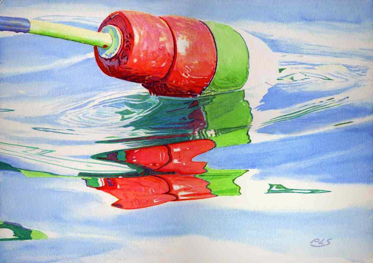 "Buoy With Water - Watercolor 14"" x 20"""