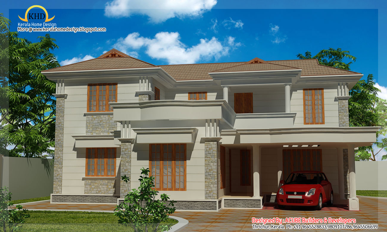Duplex villa elevation 2090 sq ft kerala home design for Duplex images india