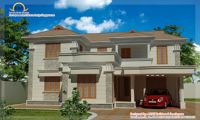 Duplex Sloping Roof House Elevation - 194 square meter (2090 Sq.Ft) - January 2012