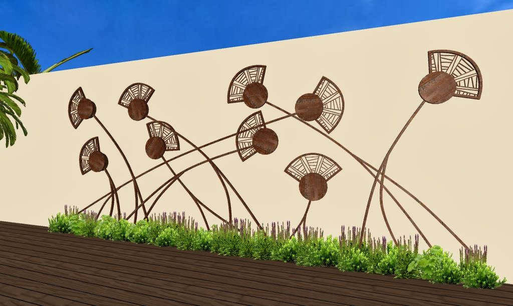 Adornos estilizados para jardines campos de amapolas y arboles en hierro oxidado zen ambient - Muro jardin ...