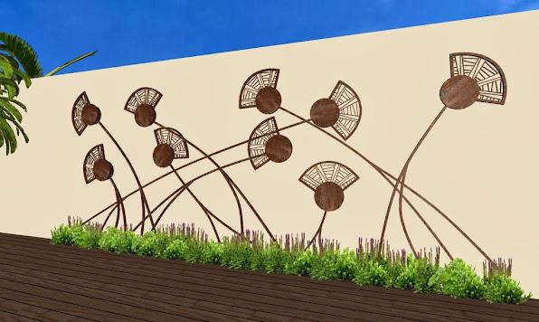 adornos en hierro para jardines - diseño jardines de lujo - campo de amapolas foto 2