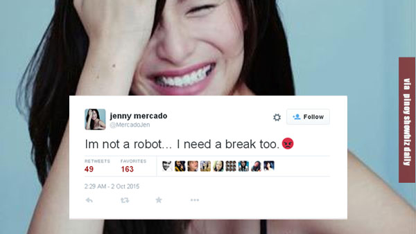 """I'm not a robot. I need a break too"", Jennylyn Mercado tweets"