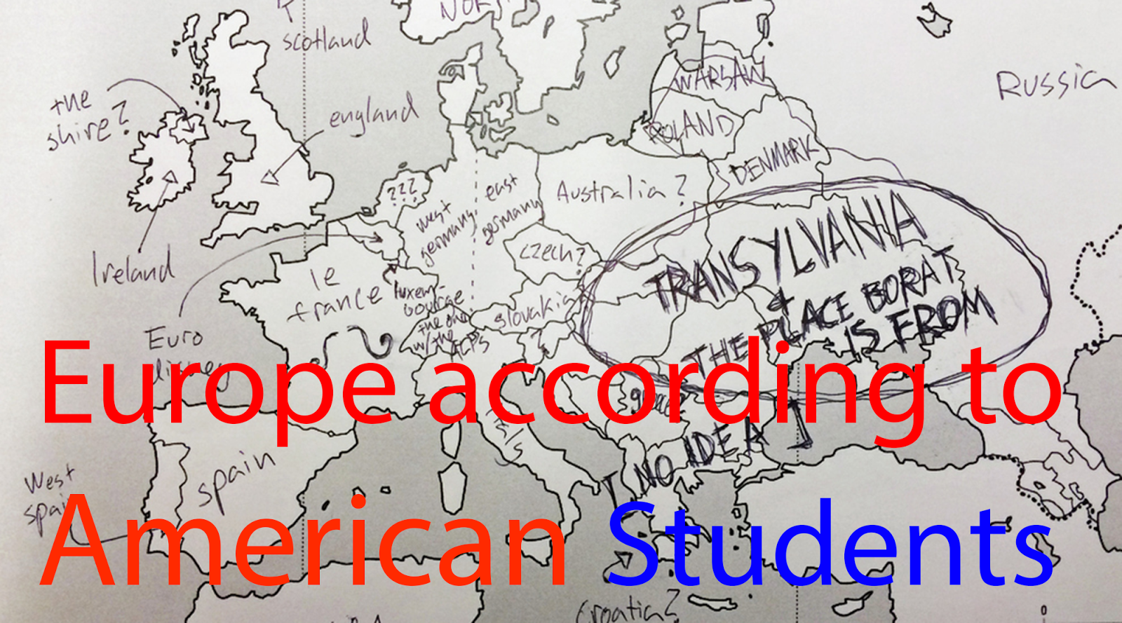 Europe According to American Students Americans Were Asked to Label