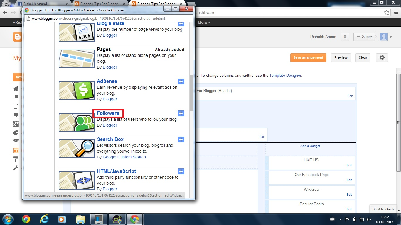 how to add a gadget to blogspot
