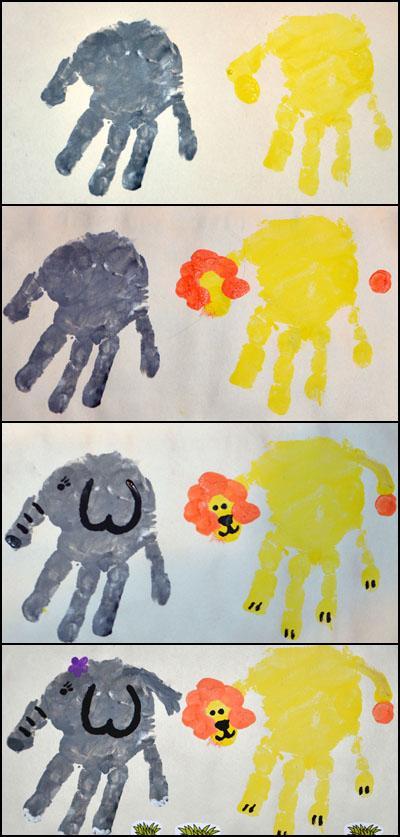 Handprint Elephant & Handprint Lion