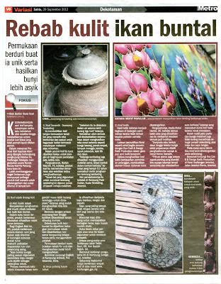 Berita tentang kraf Pahang dalam Berita Harian dan Harian Metro