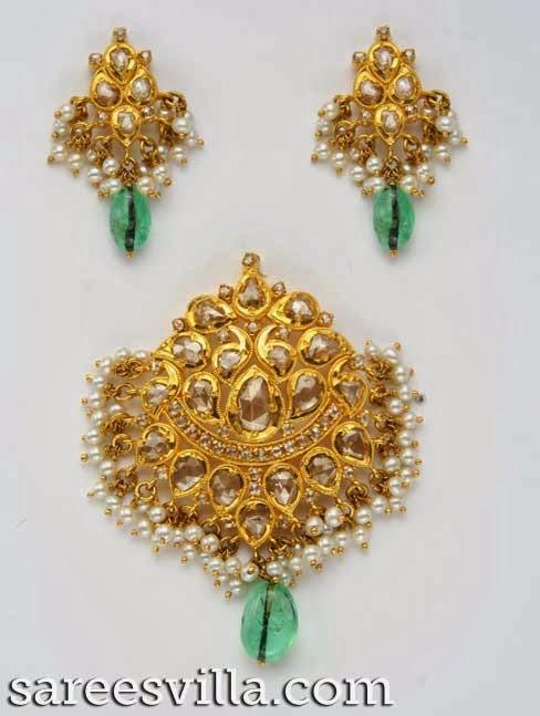 Uncut Diamond Pendants and Earrings