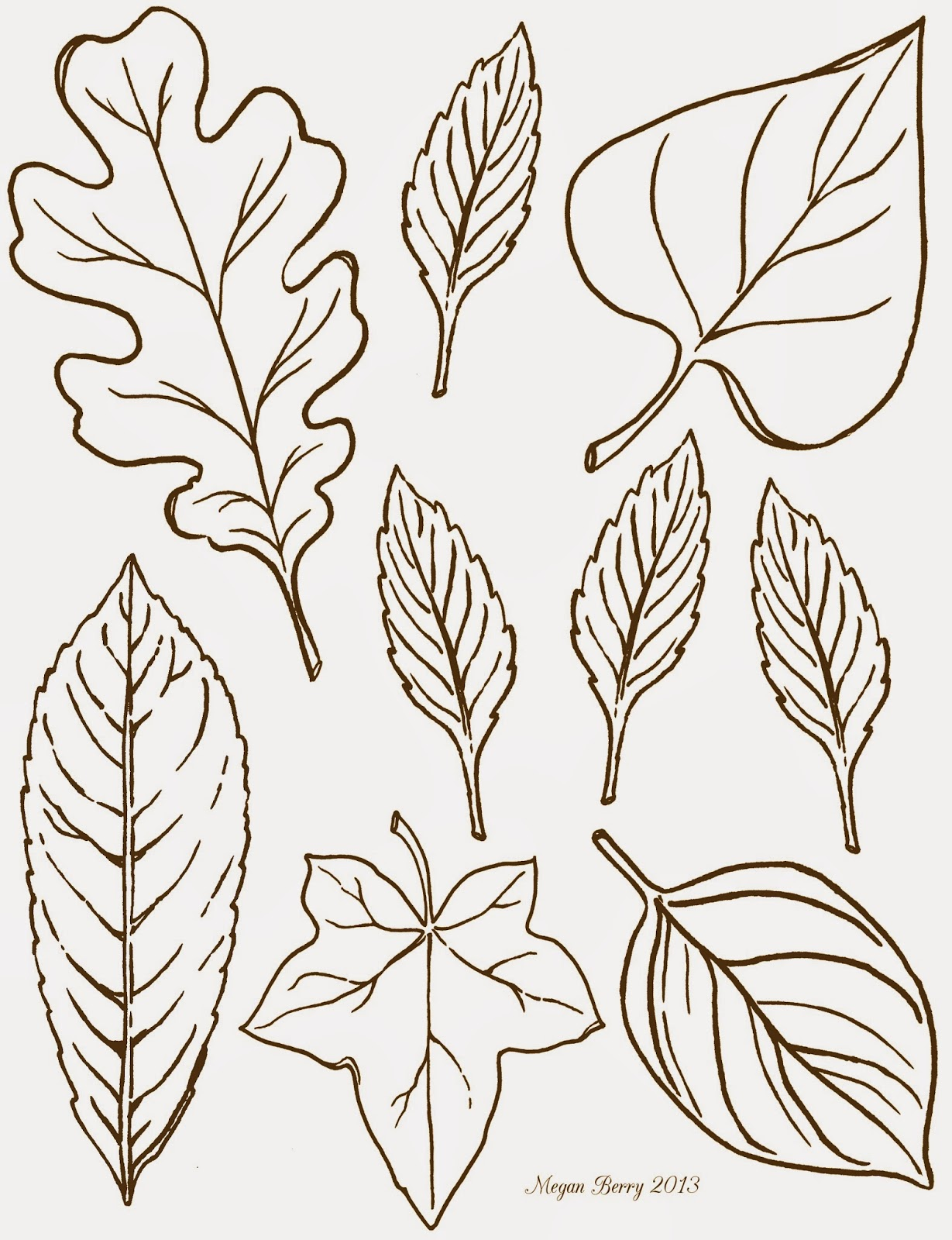 This is an image of Juicy Fall Leaf Printable