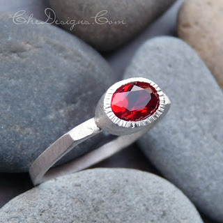 Handmade Faceted Mount Saint Helen's Ring with Square Shank, made from sterling silver