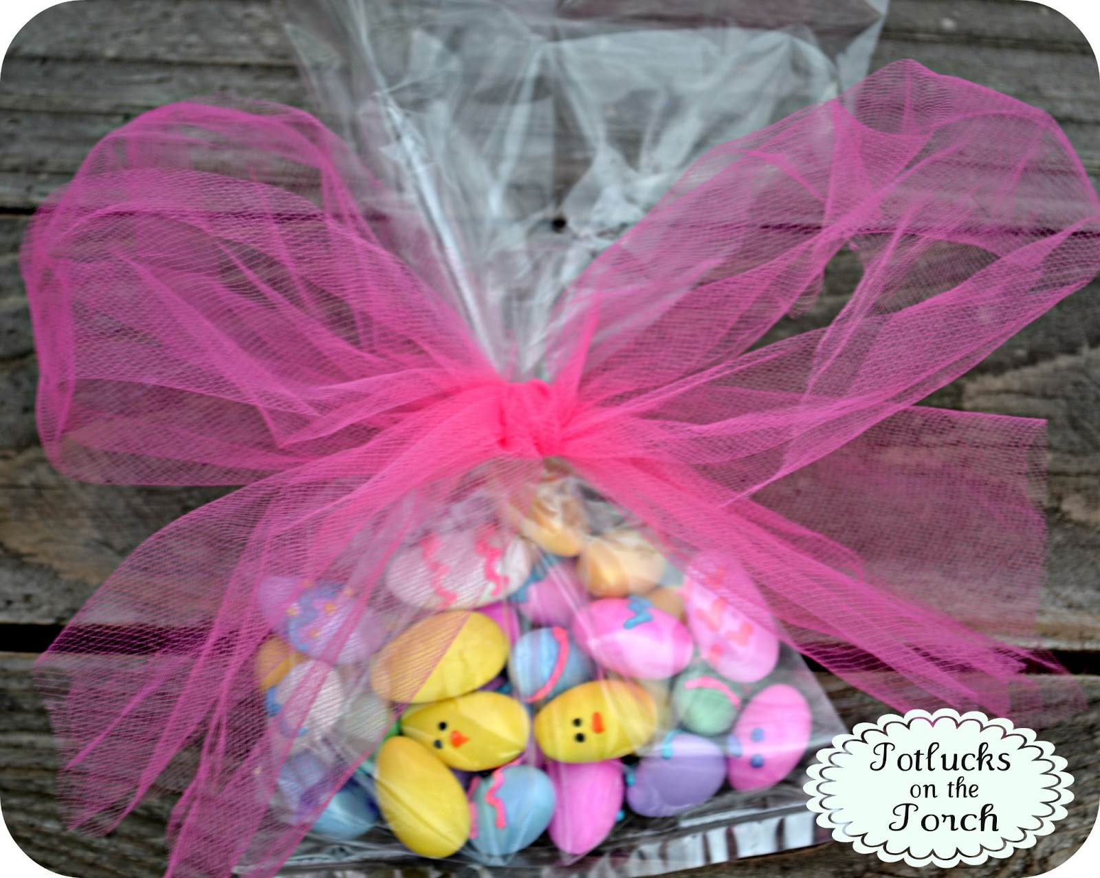 Potlucks on the porch jordan almond easter eggs chicks stick them in a cellophane bag and they make the funnest little easter gifts for a teacher friend your kids someone you visit teach the list goes on negle