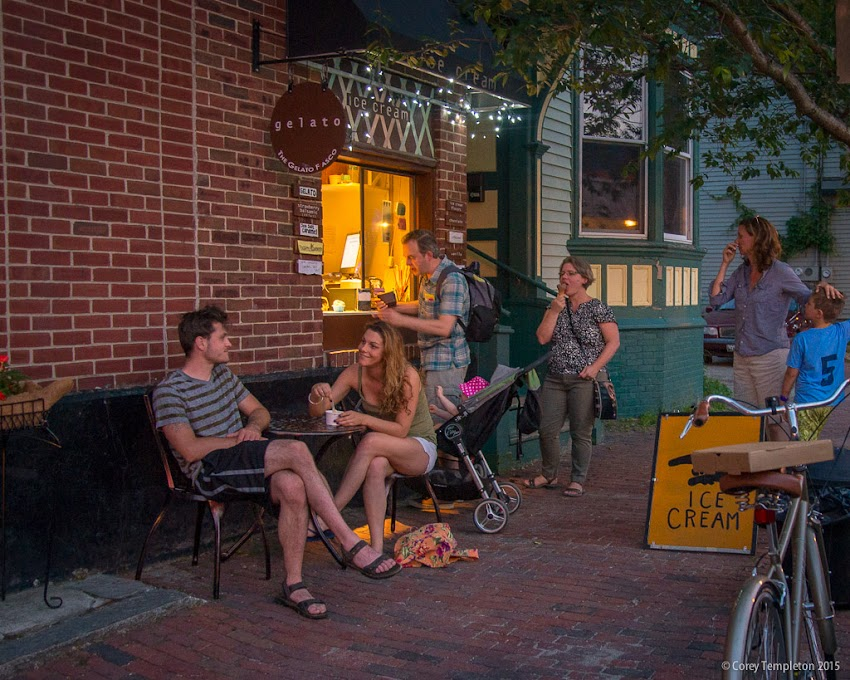 Portland, Maine June 2015 Summer Ice Cream and Gelato window at Bonobo Pizza at 46 Pine Street. Photo by Corey Templeton.
