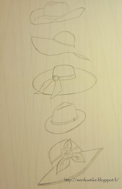 рисунок карандашом, drawing, hats, hatut, hattuja, lyijykynä