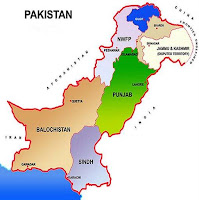 Map of Pakistan showing major administrative divisions