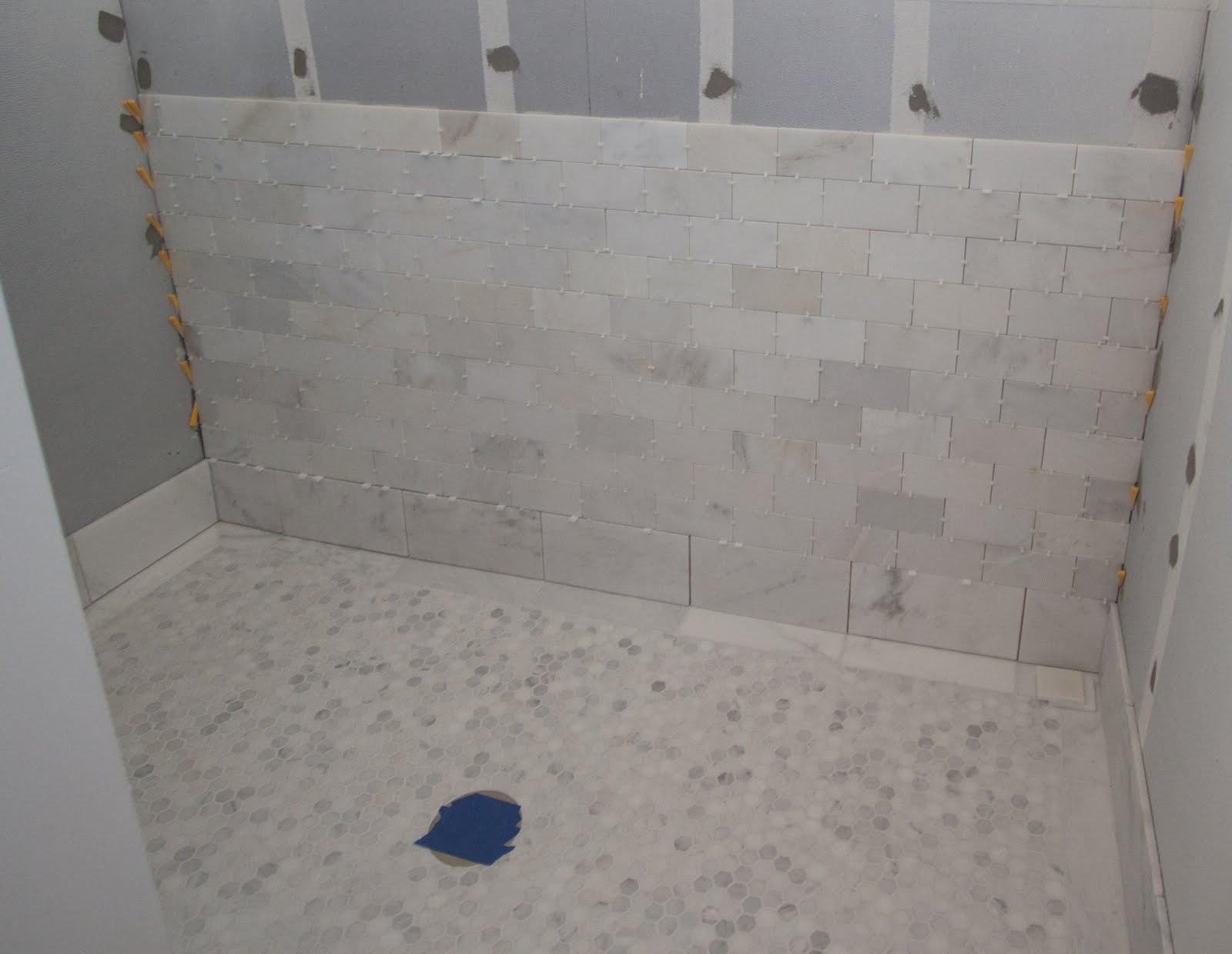 White Marble Tile Bathroom Showers