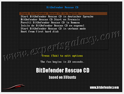 BitDefender Rescue Boot Options