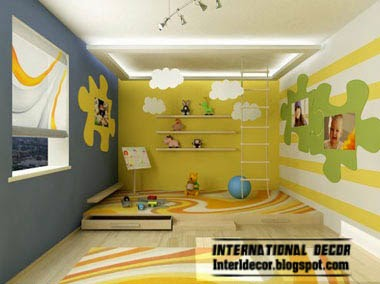 kids bedroom furniture, false ceiling, colorful kids room