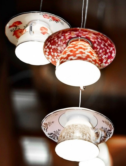 These teacup fixture lights are a great way to add some colorful decor to your home