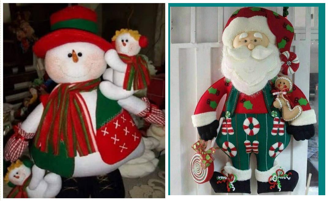 Bonitos muñecos navideños de santa y muñeco de nieve con moldes ...