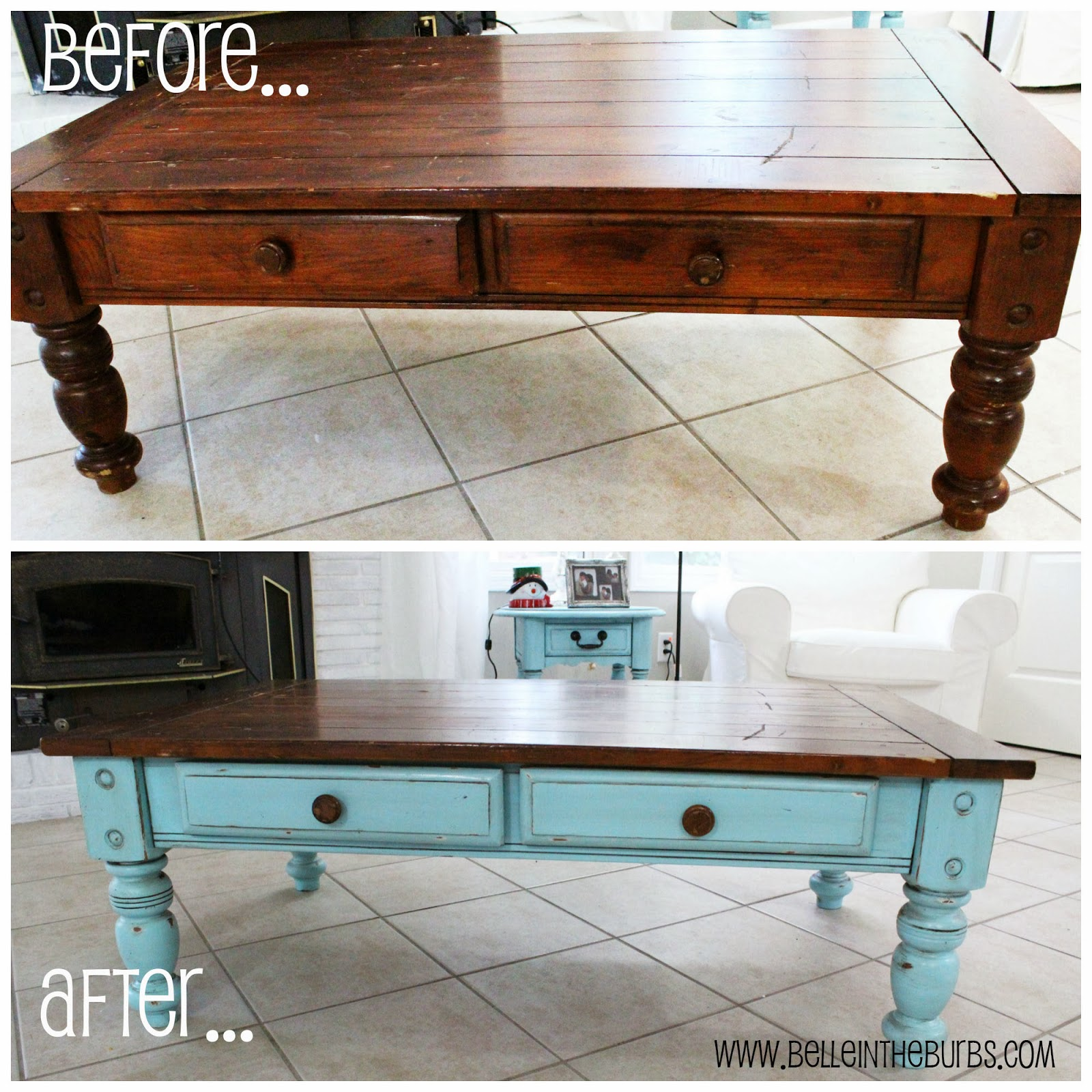 Belle in the Burbs Two Toned Coffee Table Tutorial
