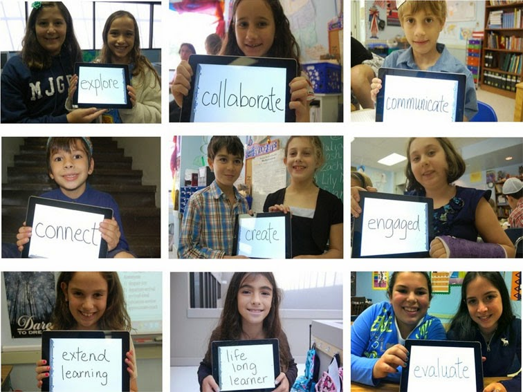 "This picture is actually nine pictures of students holding up IPads that say different things. The IPads read things such as ""explore"", ""collaborate"", ""connect"", and ""engaged""."