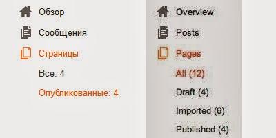 Управление страницами в Blogger