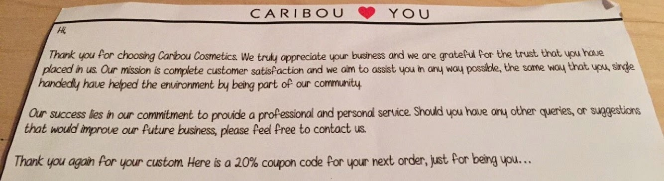 caribou brushes thank you note