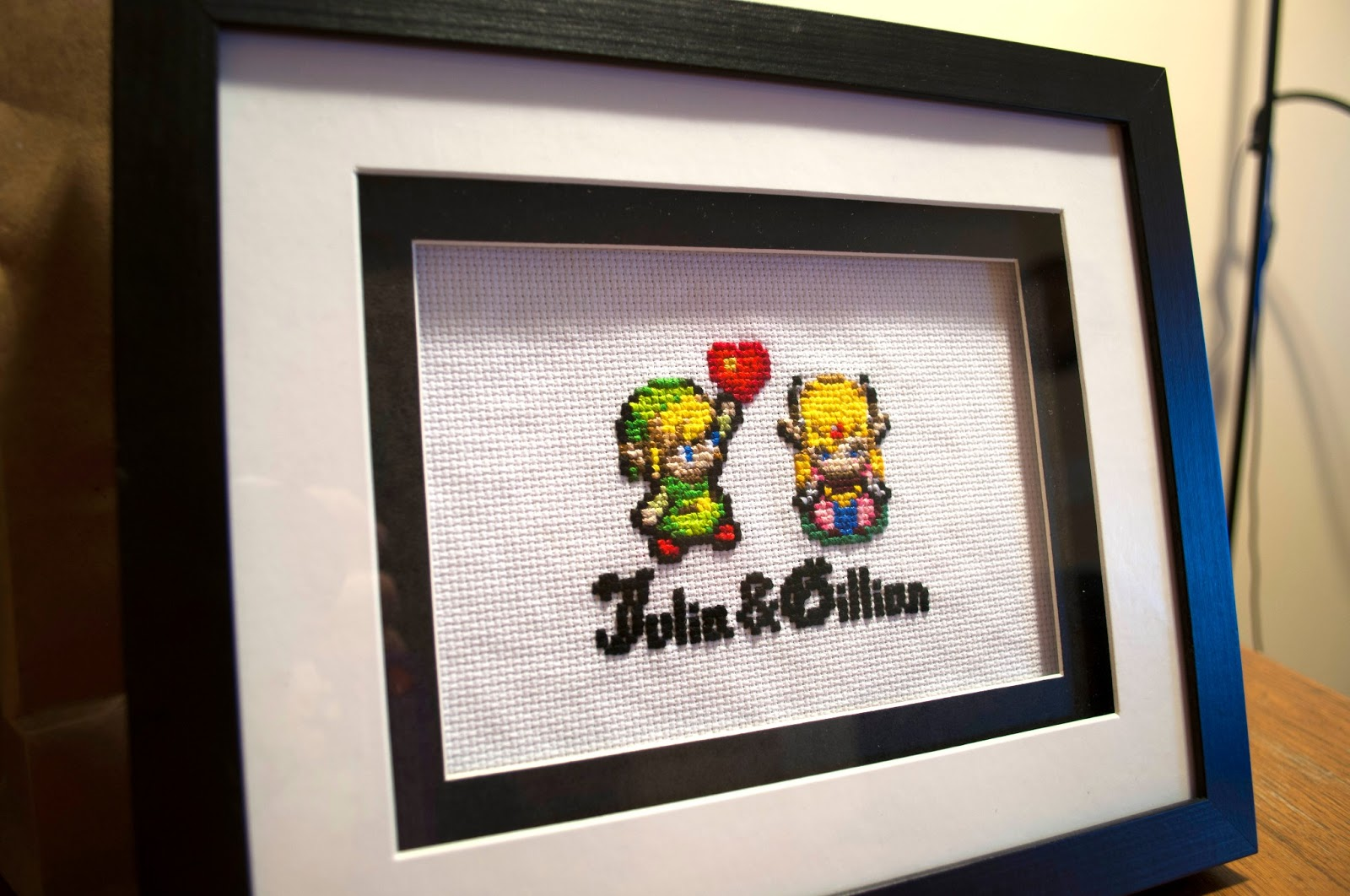 Jeffalo zelda cross stitch i found this matted frame at hobby lobby during a 50 off sale i ended up hot gluing white fabric to the cardboard backing and pinning the stitch to that gumiabroncs Images