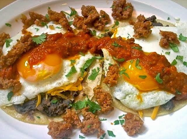 The Briny Lemon: Huevos Rancheros with Chorizo and Refried Black Beans