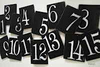 table numbers black white
