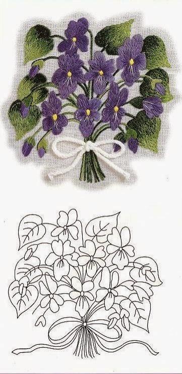 Фиалки рисунок для вышивки 65