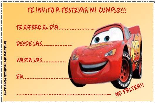 Invitación cumpleaños cars - Imagui