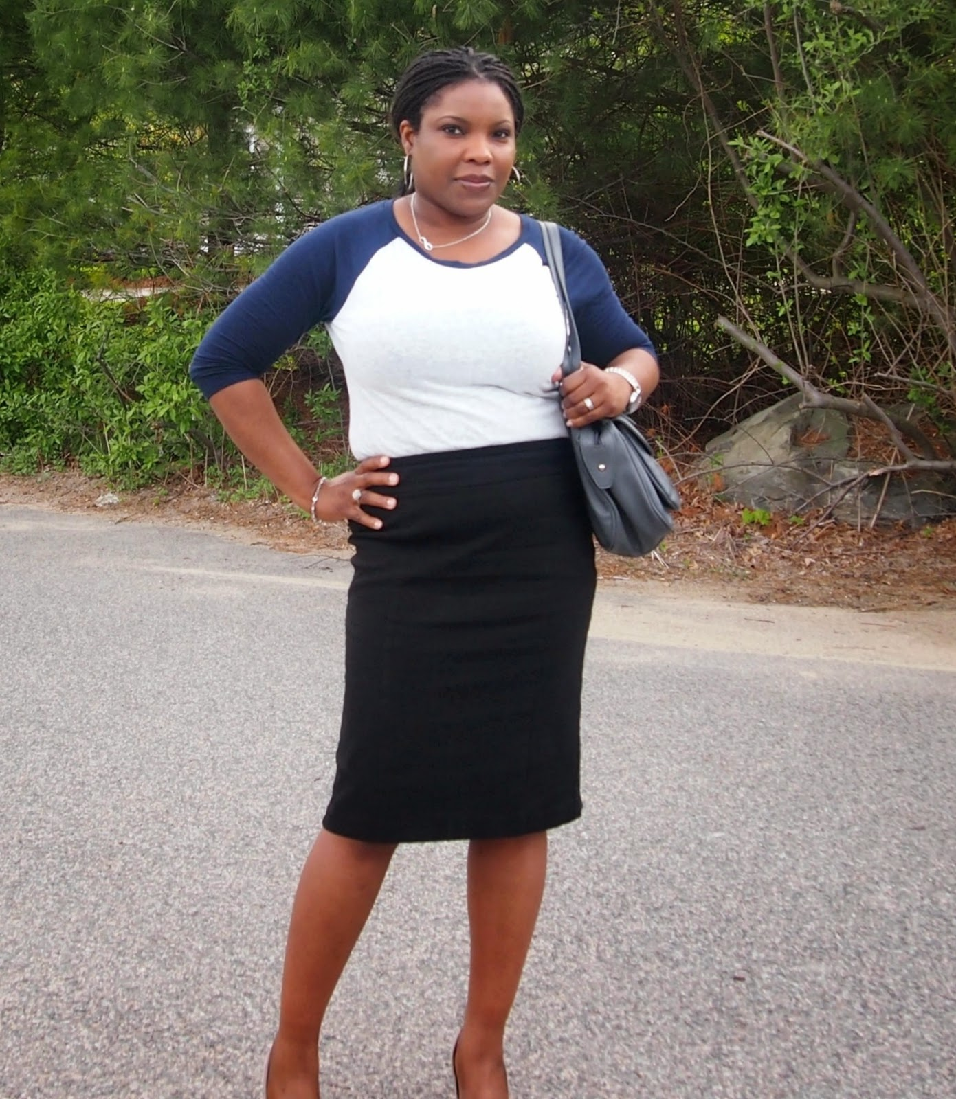 Pencil skirt, black, Nine west grey bag