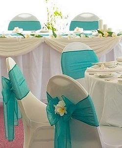 teal wedding chair sash