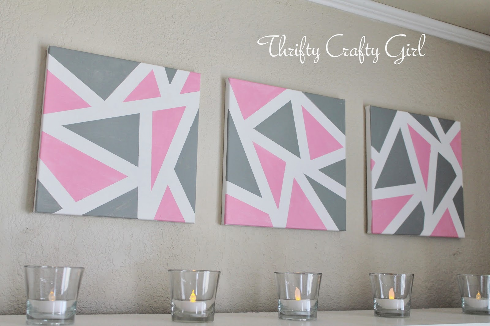 Thrifty crafty girl national craft month with jo ann 39 s for Geometric wall art diy